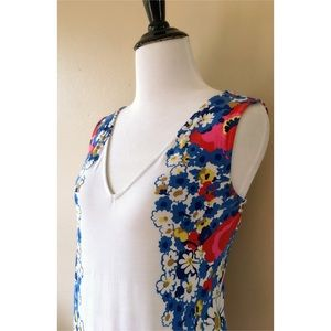 Boden V-Neck Stretchy Floral Print Tunic Tank Top